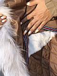 Бежевая куртка парка с натуральным мехом белой арктической лисы на капюшоне, фото 2