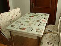 """Комплект кухонный стол и стулья """"Чайнички"""" МДФ каленое стекло 70*110 (Лотос-М)"""