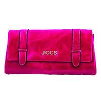 Кошелек клатч кожаный женский  JCCS W-JS01484 фуксия