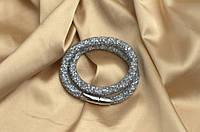 Двойной браслет  в стиле Stardust Swarovski Серый лед Сверкающий Премиум