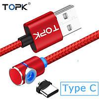 Угловой Магнитный кабель TOPK 1 метр ПОВОРОТ 90° USB 2.0 для зарядки AM51 Type C (КРАСНЫЙ)