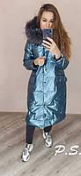 Женская длинная куртка металлизированная с мехом на капюшоне 76KU125, фото 1