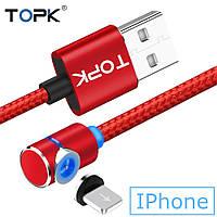 Угловой Магнитный кабель TOPK 1 метр ПОВОРОТ 90° USB 2.0 для зарядки AM51 IPhone (КРАСНЫЙ), фото 1