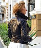 Женская черная куртка из телячьей кожи, фото 3