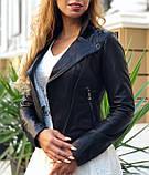 Женская черная куртка из телячьей кожи, фото 2