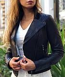 Женская черная куртка из телячьей кожи, фото 4