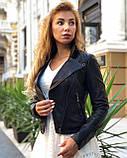 Женская черная куртка из телячьей кожи, фото 5