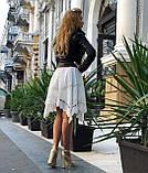 Женская черная куртка из телячьей кожи, фото 6
