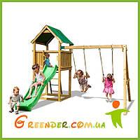 Игровой набор для детской площадки (детский домик с песочницей, двухскатной крышей и двумя качелями)