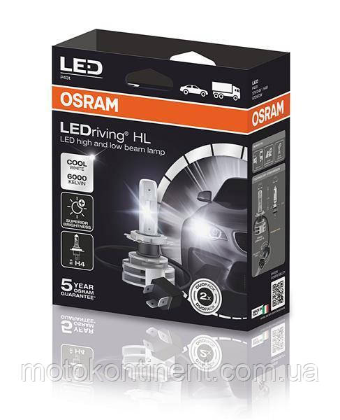 OSRAM led H4 ближний/дальний OSRAM H4 LED 12/24V 14W 6000K P43T /LEDRIVING HL PREMIUM  9726CW