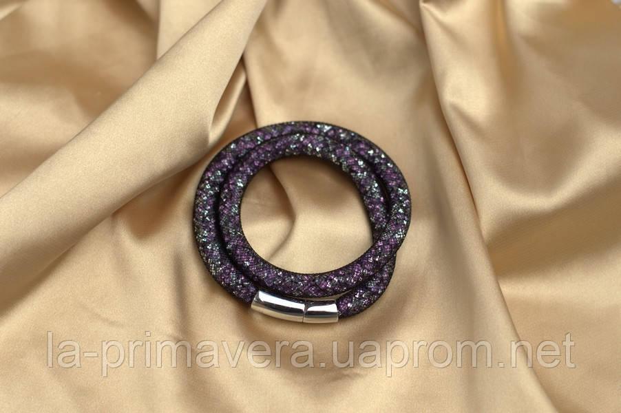 Двойной браслет  в стиле Stardust Swarovski Сиреневый Сверкающий Премиум