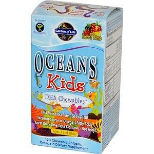 Чистая ДГК, от трёх лет и старше, с лаймом, 120 жевательных таблеток Garden of Life, Oceans Kids