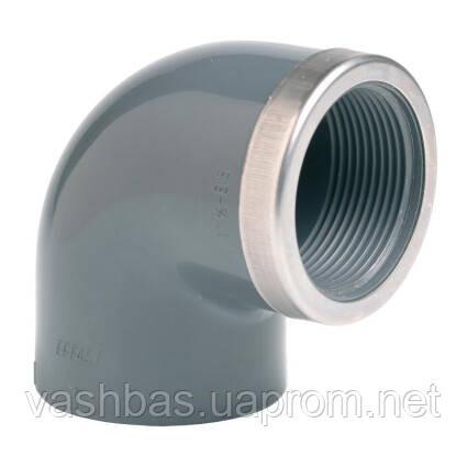 "EFFAST Угол 90° c металлическим кольцом EFFAST d50x1-1/2"" (RGRGOR050F)"