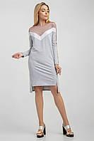 Прямое женское платье в стиле спорт шик светло-серое