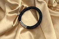 Одинарный браслет  в стиле Stardust Swarovski Черный Премиум
