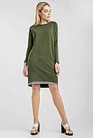 Лаконичное женское платье цвета хаки, фото 1