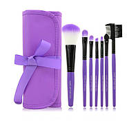 Набор кистей для макияжа MAKE UP FOR YOU 7 штук + чехол Purple (GH178d)