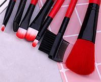 Набор кистей для макияжа MAKE UP FOR YOU 7 штук + чехол Red (R.kjh586)