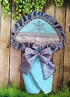 Теплый конверт - одеяло  на выписку с итальянским кружевом, вышивкой и рюшами, фото 1