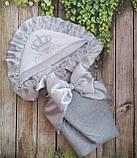 Серый  велюровый конверт на выписку с итальянским кружевом, вышивкой и рюшами Корона, фото 2