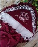 Красивый  конверт на выписку с итальянским кружевом, вышивкой и рюшами, фото 3