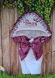 Красивый  конверт на выписку с итальянским кружевом, вышивкой и рюшами, фото 9