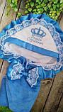 Красивый  конверт на выписку с итальянским кружевом, вышивкой и рюшами, фото 10