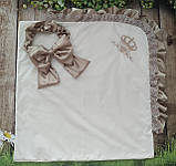 Конверт на выписку с вышивкой и кружевом для новорожденных, фото 6