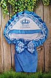 Конверт на выписку с вышивкой и кружевом для новорожденных, фото 9