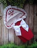 Велюровый конверт на выписку с итальянским кружевом, вышивкой и рюшами для девочек, фото 10