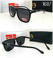 Мужские солнцезащитные очки  Ray Ban  черная линза поляризационные
