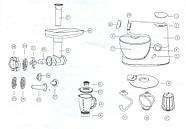Кухонний комбайн 3в1  планетарний Royalty Line RL-PKM-1900.7BG RED 1900 Вт, фото 5