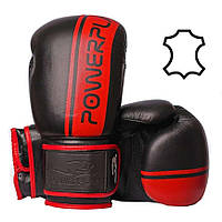 Боксерські рукавиці 3022 Чорно-Червоні, натуральна шкіра 12 унцій R144044