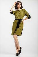 Комбинированное женское платье горчичное, фото 1