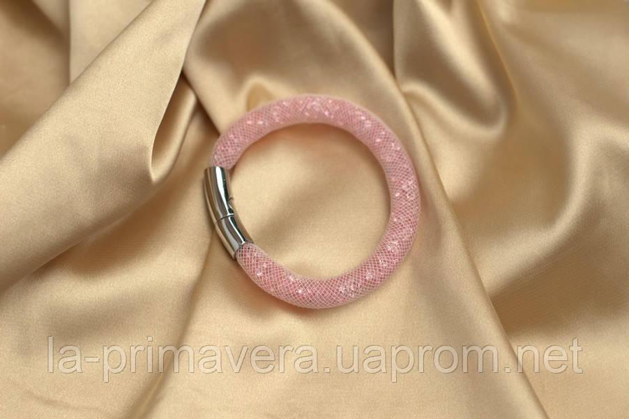 Одинарный браслет  в стиле Stardust Swarovski  Нежно-розовый Премиум