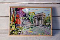 Поднос на подушке BST 46*32 деревянный Париж Триумфальная арка