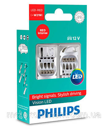 W21W Лампочки в стопы Philips Vision RED W21W LED 12V W3X16D /Vision RED - КРАСНЫЙ 12838REDX2, фото 2