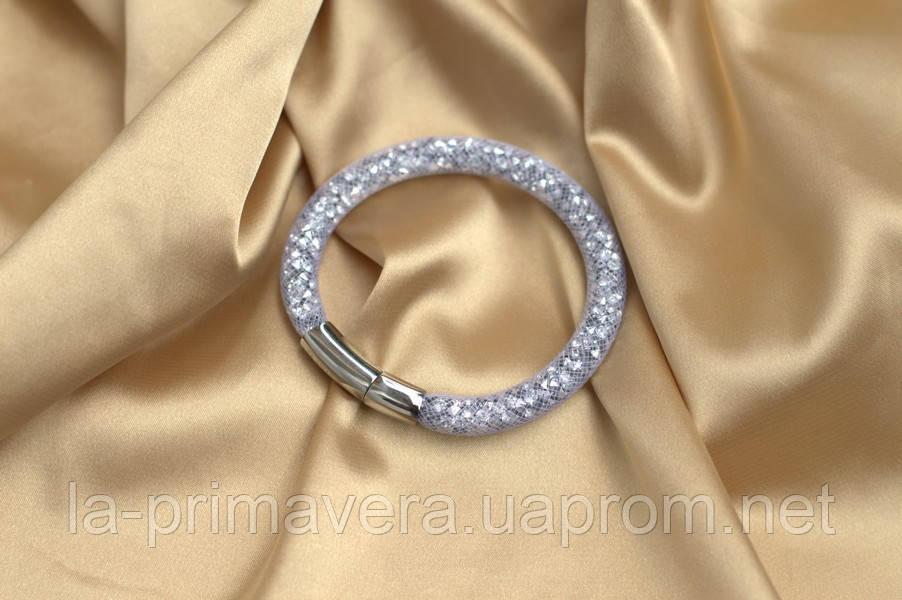 Одинарный браслет  в стиле Stardust Swarovski Белый Сверкающий Премиум