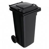 Бак для мусора пластиковый 120 л. Черный,  На колесиках