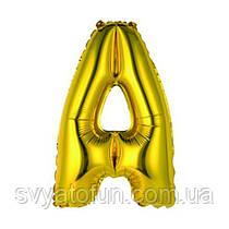 """Фольгированный шар буква """"А"""" золото 14"""" Китай"""
