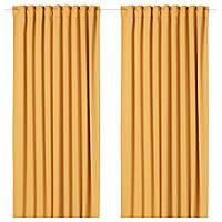 Гардины блокирующие свет IKEA MAJGULL 300 см x 145 см Желтые (504.177.89)