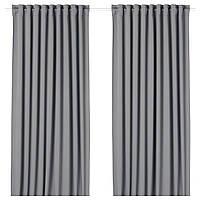 Гардины блокирующие свет IKEA MAJGULL 300 см x 145 см Серые (804.178.15)