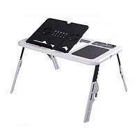 Складной столик-подставка для ноутбука с кулером E-Table LD09 HHG678H Черно-белый (10gad_krp270jhk)
