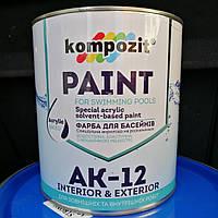 Краска для бассейнов АК-12 Композит голубая, 2.8кг