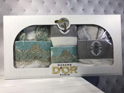Подарочный набор халаты+полотенца (6-предметов) Madame Dor Бирюза/Серый