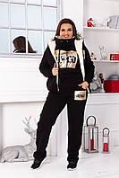 Тёплый женский спортивный костюм тройка SWAG на флисе штаны батник жилетка с мехом чёрный 42 44 46 48 50 52 54, фото 1
