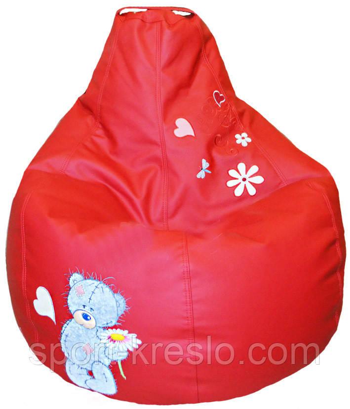 Кресло груша Пуф бескаркасный sportkreslo Тедди Экокожа размер XL 110*130см красный