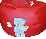 Кресло груша Пуф бескаркасный sportkreslo Тедди Экокожа размер XL 110*130см красный, фото 2