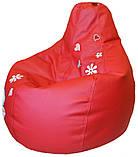 Кресло груша Пуф бескаркасный sportkreslo Тедди Экокожа размер XL 110*130см красный, фото 3