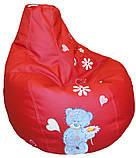 Кресло груша Пуф бескаркасный sportkreslo Тедди Экокожа размер XL 110*130см красный, фото 4
